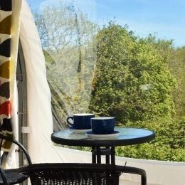 Coffee time in glamping pod