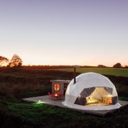 Nessa glamping geodome at dusk