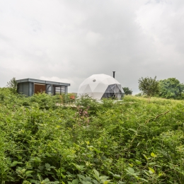 Eyl glamping geodome from a distance