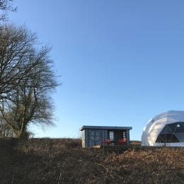 Eyl glamping geodome with kitchen and bathroom pod